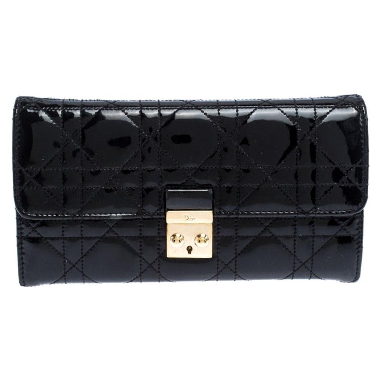 Dior Black Quilted Cannage Patent Leather New Lock Wallet For Sale