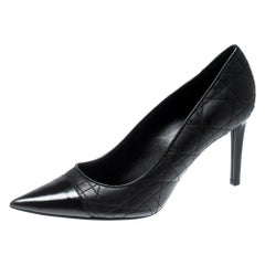 Dior Black Quilted Leather Pointed Toe Pumps Size 39