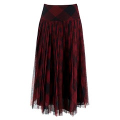 Dior Black & Red Tulle Signature Midi Skirt - Size US 4
