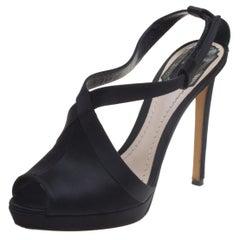 Dior Black Satin Cross Strap Platform Sandals Size 37.5