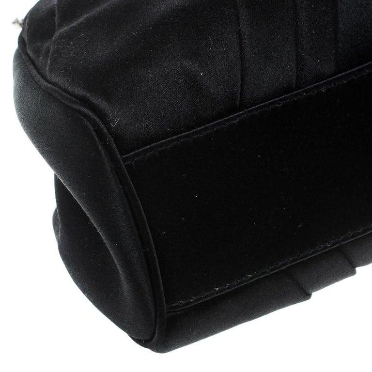 Dior Black Satin Jewel Frame Clutch For Sale 6