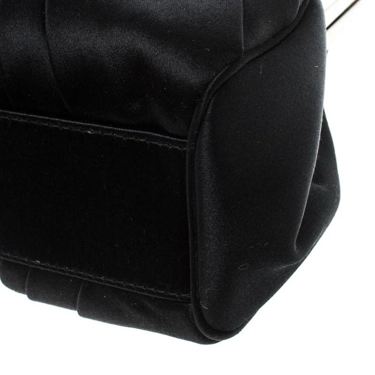 Dior Black Satin Jewel Frame Clutch For Sale 7