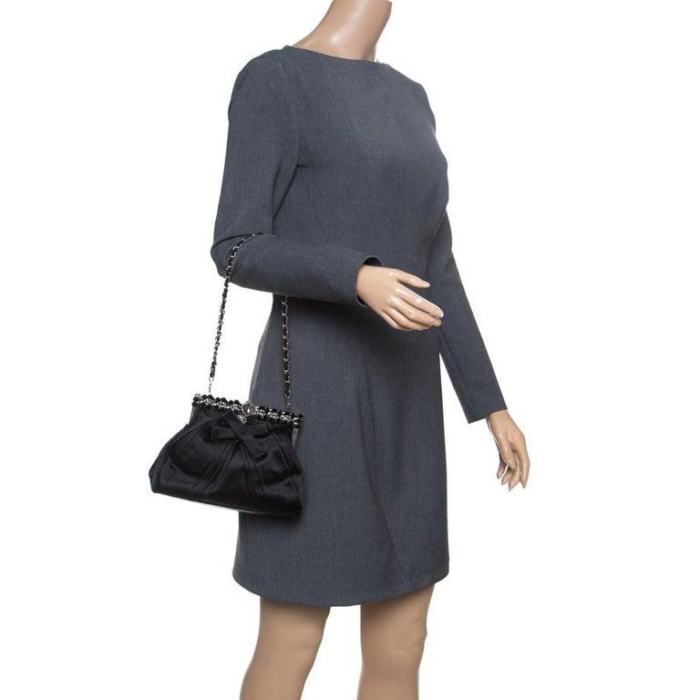 Dior Black Satin Jewel Frame Clutch In Good Condition For Sale In Dubai, Al Qouz 2
