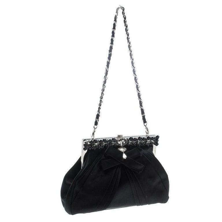 Women's Dior Black Satin Jewel Frame Clutch For Sale