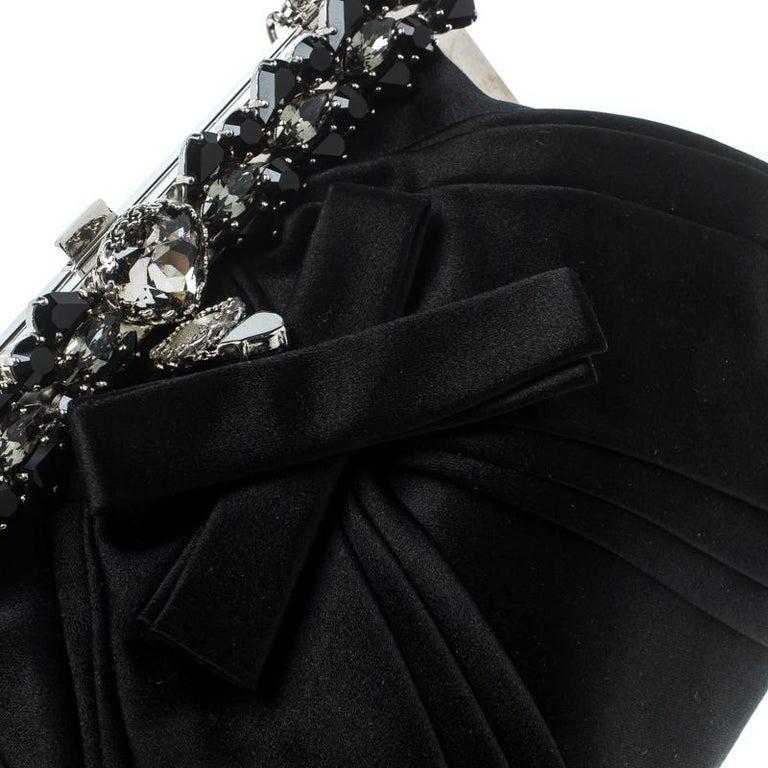 Dior Black Satin Jewel Frame Clutch For Sale 2