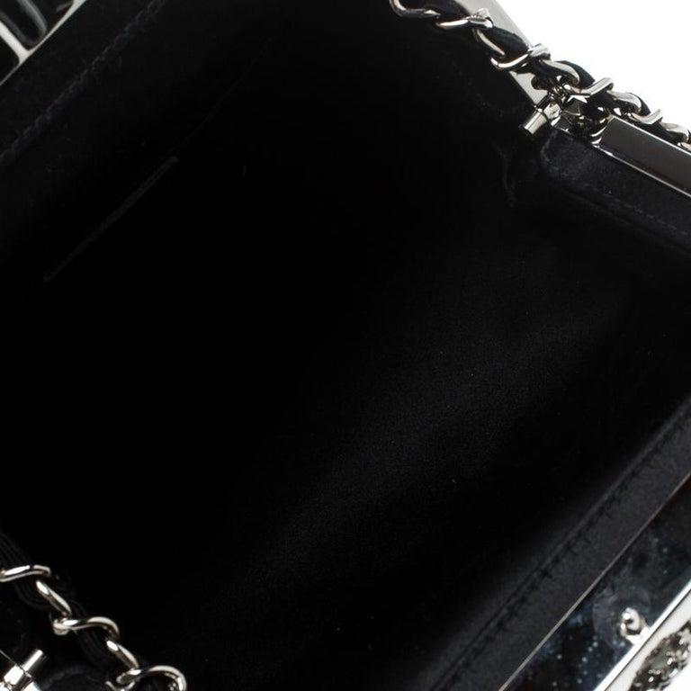 Dior Black Satin Jewel Frame Clutch For Sale 3