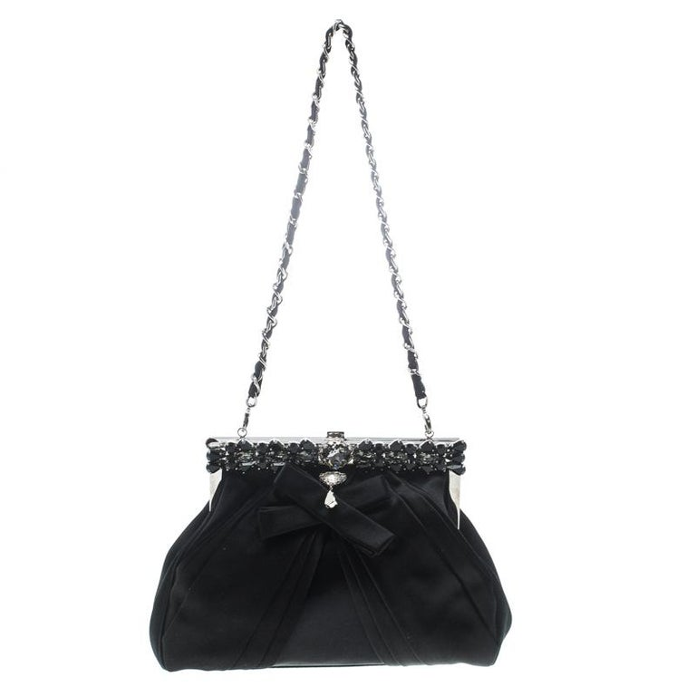 Dior Black Satin Jewel Frame Clutch For Sale