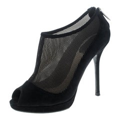 Dior Black Suede and Mesh Peep Toe Platform Booties Size 37
