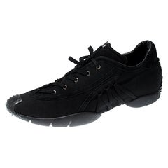 Dior Black Suede And Nylon Lace Up Sneakers Size 40.5