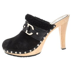 Dior Black Suede and Shearling Logo Buckle Clogs Size 40