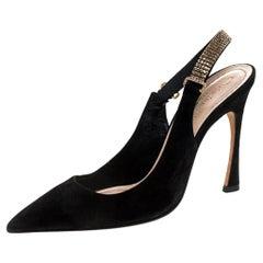 Dior Black Suede Crystal Embellished Slingback Sandals Size 37