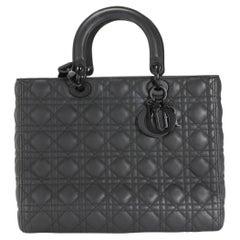 Dior Black Ultramatte Cannage Calfskin Large Lady Dior Bag