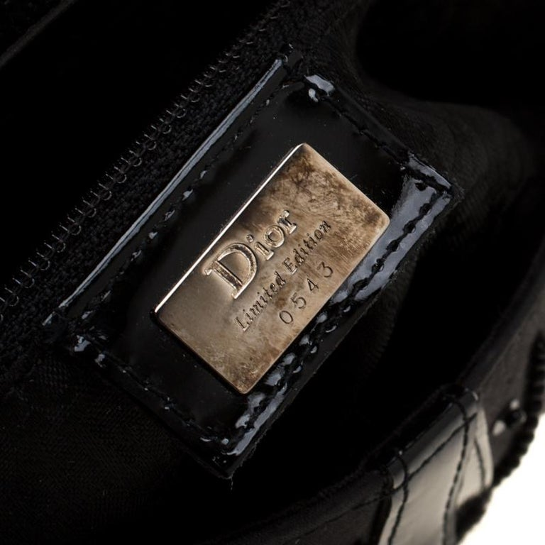 Dior Black Velvet/Nylon and Leather Pom Pom Embellished Saddle Bag 6