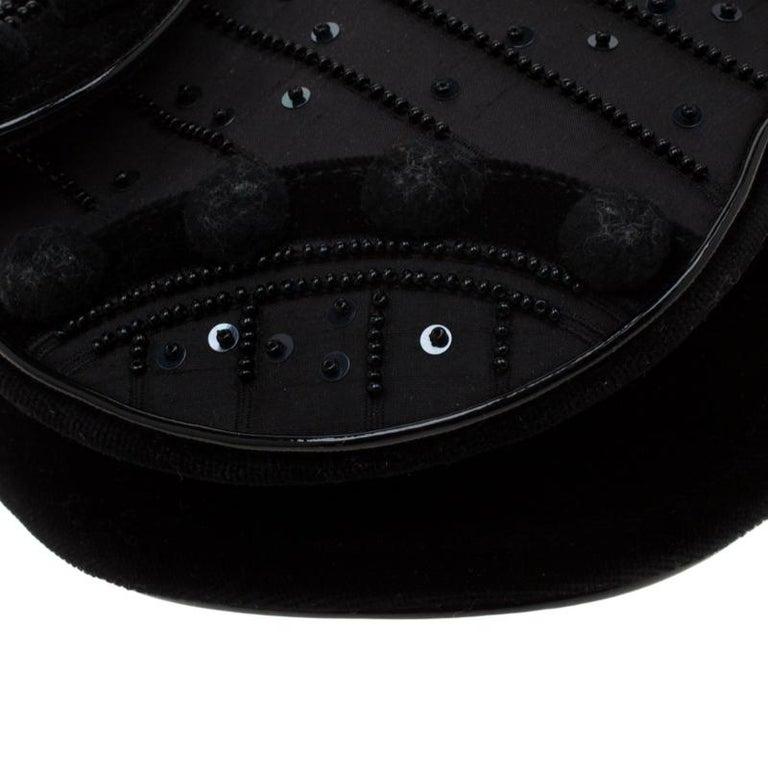 Dior Black Velvet/Nylon and Leather Pom Pom Embellished Saddle Bag 7