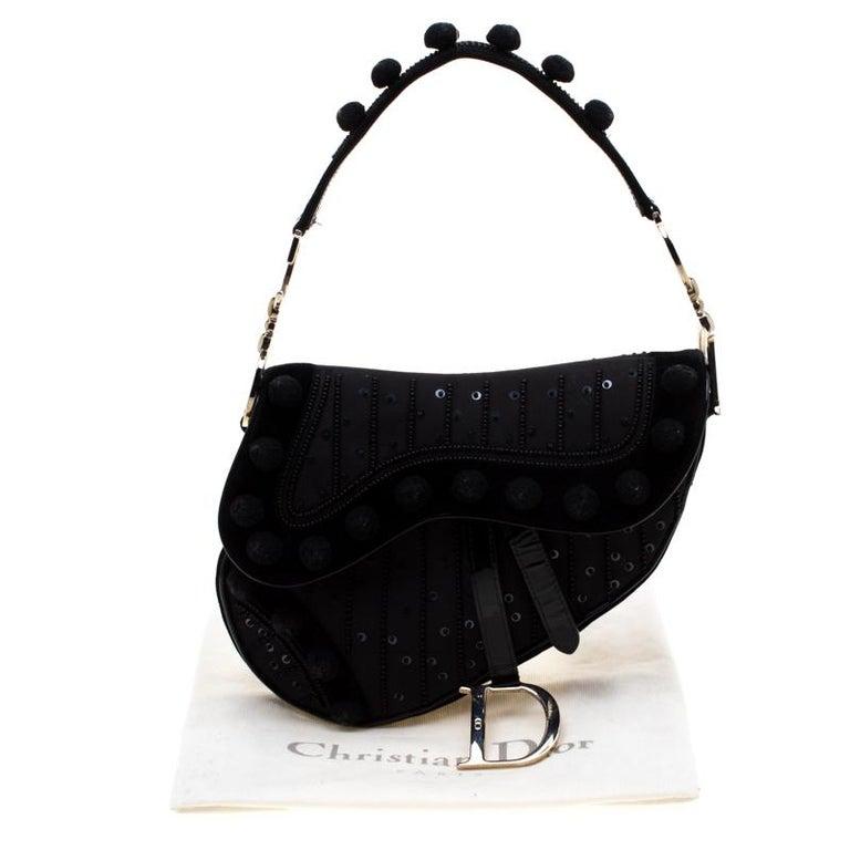 Dior Black Velvet/Nylon and Leather Pom Pom Embellished Saddle Bag 8