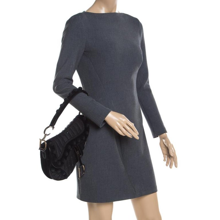Dior Black Velvet/Nylon and Leather Pom Pom Embellished Saddle Bag In Good Condition In Dubai, Al Qouz 2