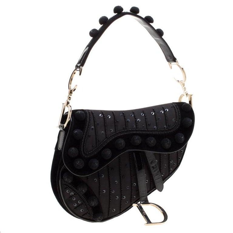 Women's Dior Black Velvet/Nylon and Leather Pom Pom Embellished Saddle Bag