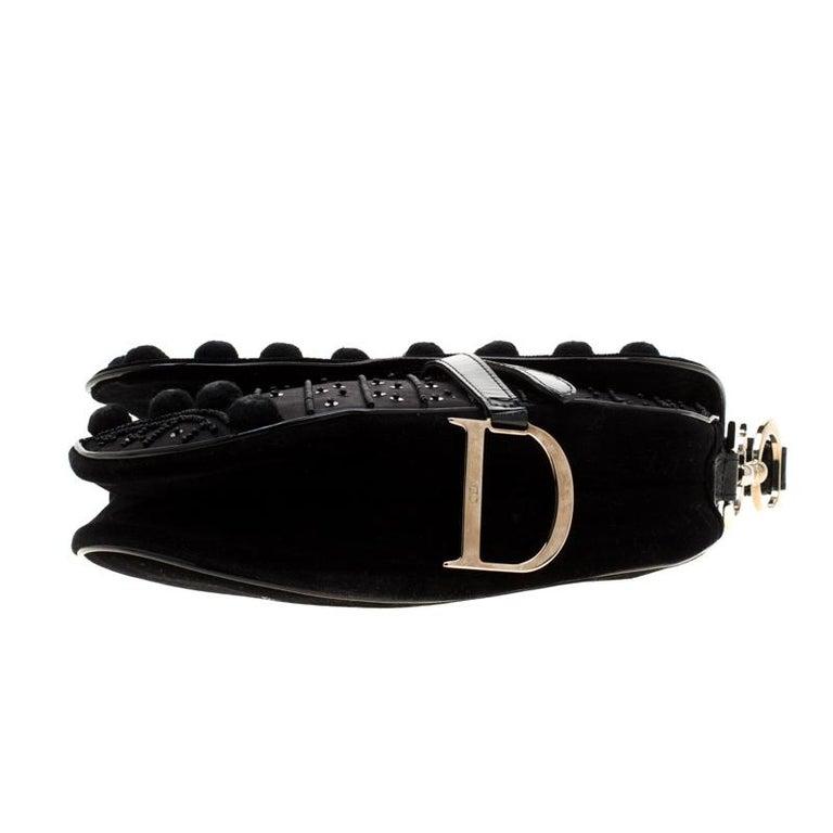 Dior Black Velvet/Nylon and Leather Pom Pom Embellished Saddle Bag 1