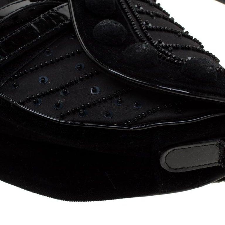 Dior Black Velvet/Nylon and Leather Pom Pom Embellished Saddle Bag 2