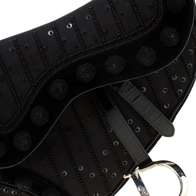 Dior Black Velvet/Nylon and Leather Pom Pom Embellished Saddle Bag 3