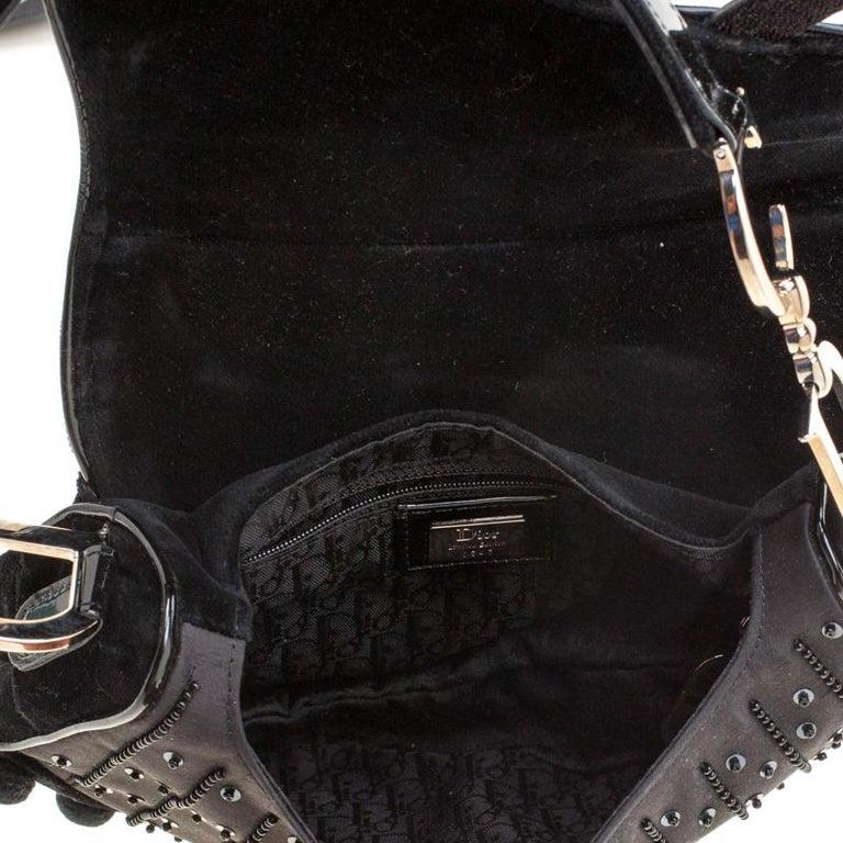Dior Black Velvet/Nylon and Leather Pom Pom Embellished Saddle Bag 4