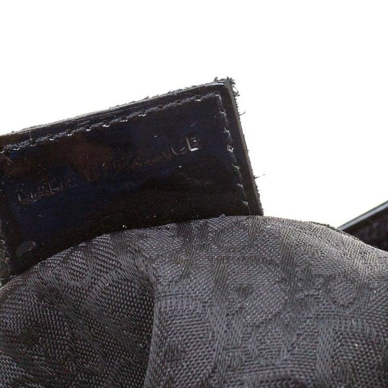 Dior Black Velvet/Nylon and Leather Pom Pom Embellished Saddle Bag 5