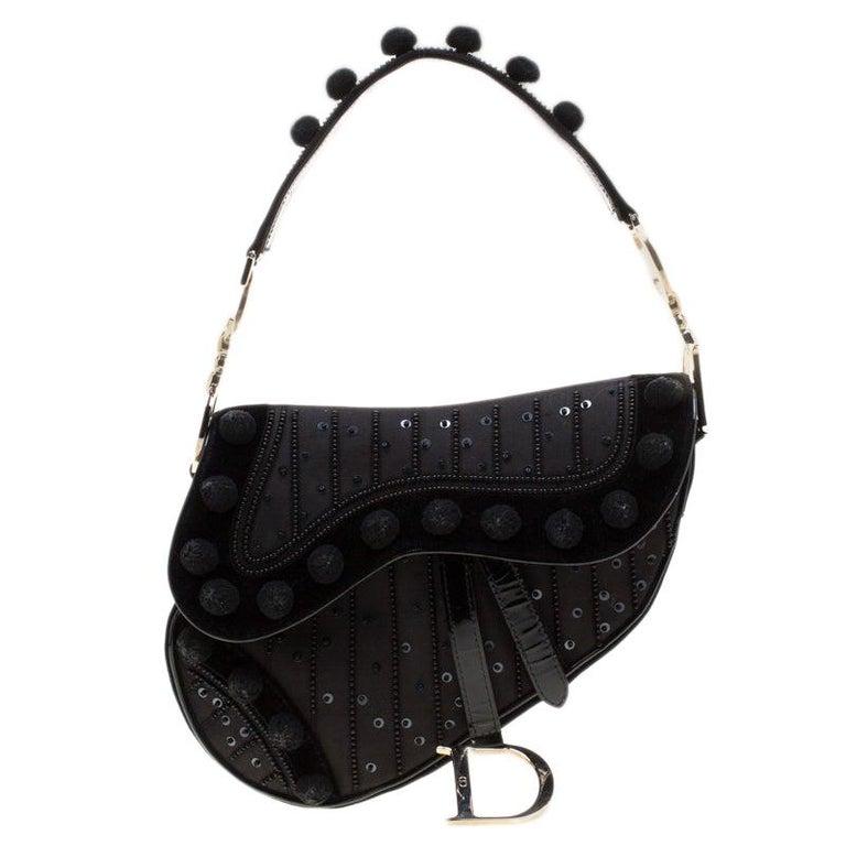 Dior Black Velvet/Nylon and Leather Pom Pom Embellished Saddle Bag