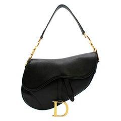 Dior Black Vintage Leather Saddle Bag 23.5cm