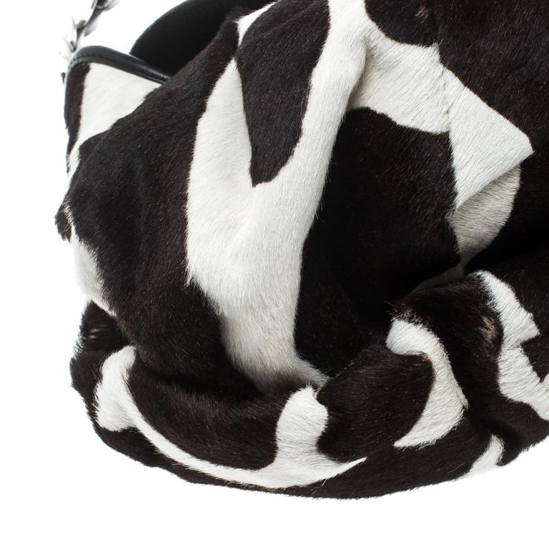 Dior Black/White Animal Print Calf hair Hobo For Sale 6