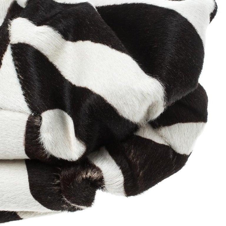 Dior Black/White Animal Print Calf hair Hobo For Sale 7