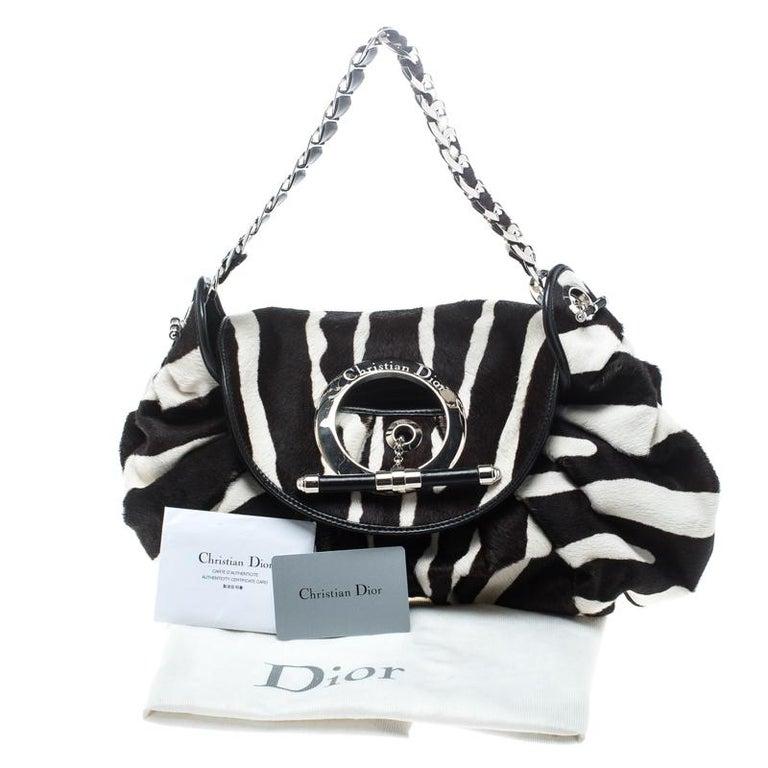 Dior Black/White Animal Print Calf hair Hobo For Sale 8