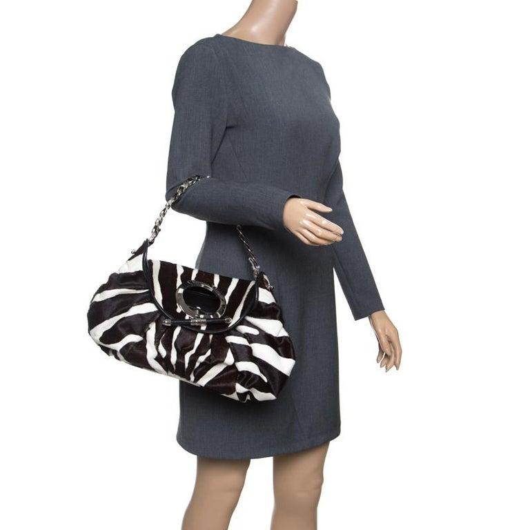 Dior Black/White Animal Print Calf hair Hobo In Excellent Condition For Sale In Dubai, Al Qouz 2
