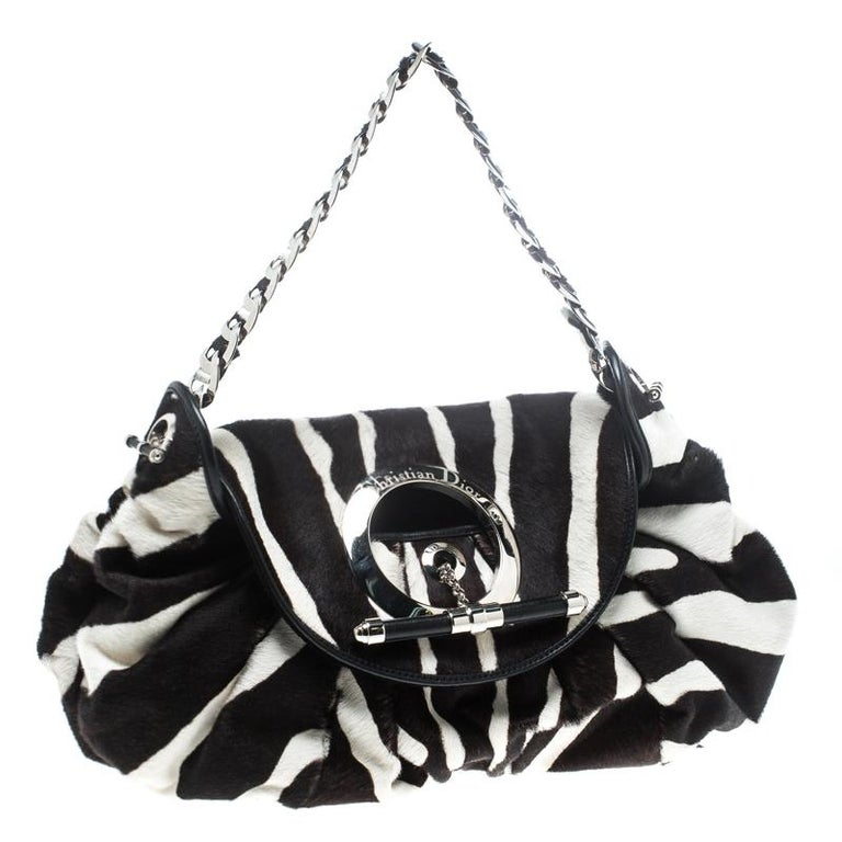 Women's Dior Black/White Animal Print Calf hair Hobo For Sale