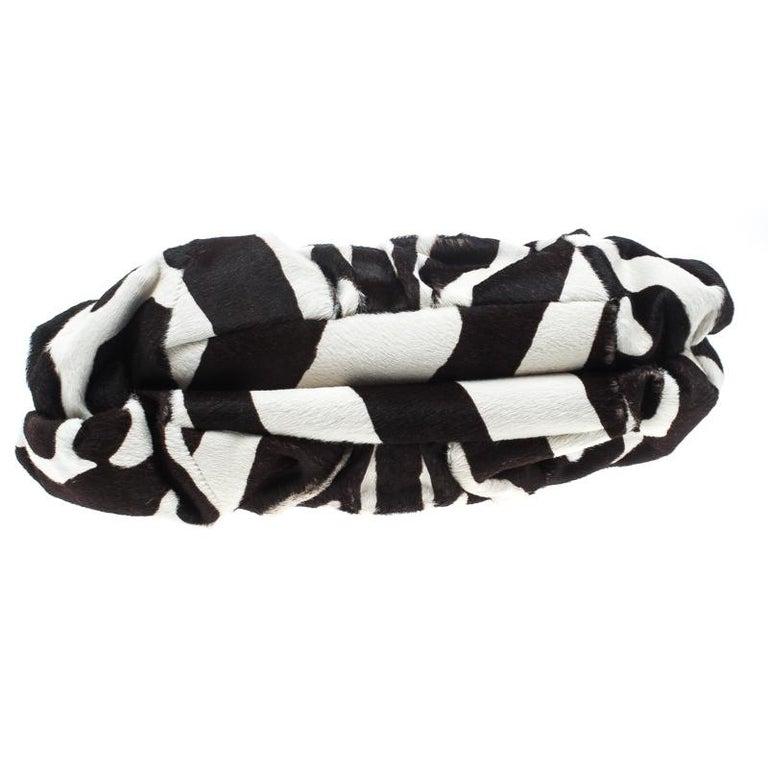 Dior Black/White Animal Print Calf hair Hobo For Sale 2