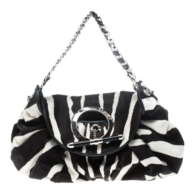 Dior Black/White Animal Print Calf hair Hobo For Sale