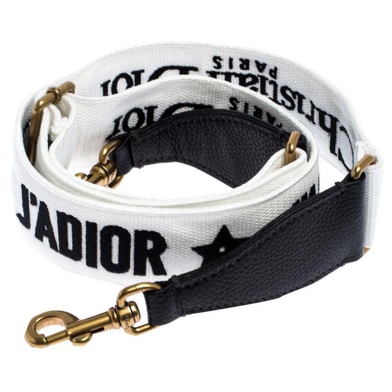 Dior Black/White Canvas and Leather J'adior Shoulder Bag Strap In Excellent Condition For Sale In Dubai, Al Qouz 2