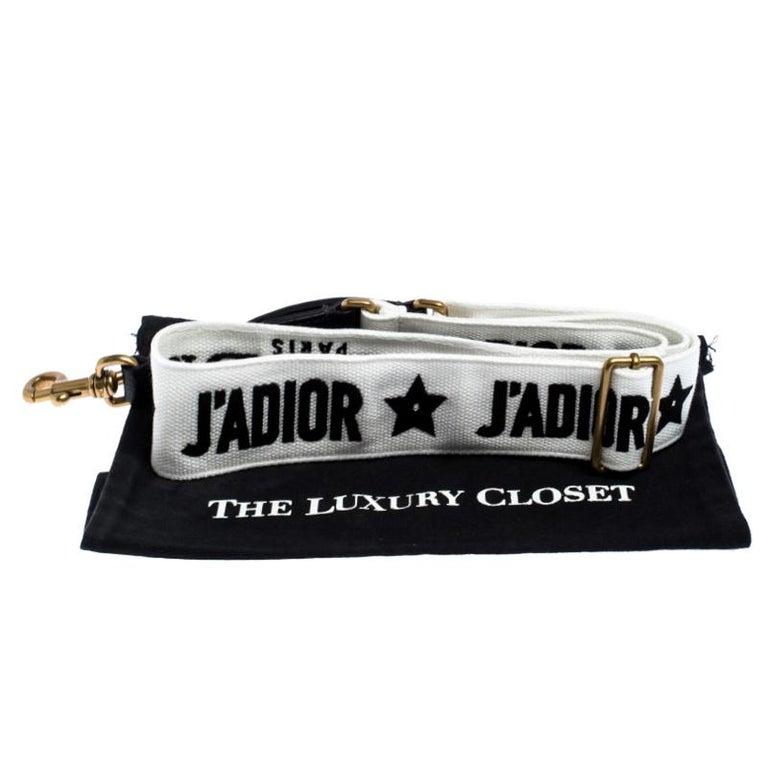 Dior Black/White Canvas and Leather J'adior Shoulder Bag Strap For Sale 4