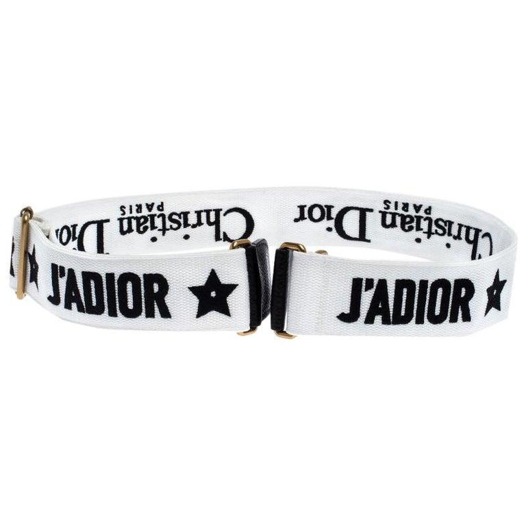 Dior Black/White Canvas and Leather J'adior Shoulder Bag Strap For Sale