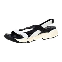 Dior Black/White Leather Cross Strap Slingback Flat Sandals Size 36.5