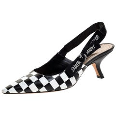 Dior Black/White Leather J'Adior Slingback Sandals Size 38