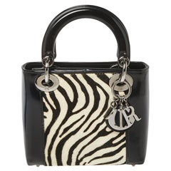 Dior Black/White Patent Leather and Calf Hair Zebra Print Vintage Mini Lady Dior