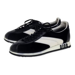 Dior Black/White Velvet and Leather Diorun Low Top Sneakers Size 38
