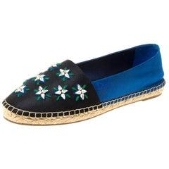 Dior Blue/Black Crystal Embellished Fabric Riviera Espadrille Loafers Size 37.5