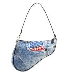 Dior Satteltasche aus blau-schwarzem Denim und Leder