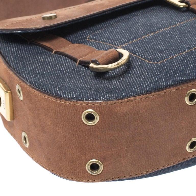Dior Blue/Brown Denim and Leather Street Chic Shoulder Bag For Sale 6