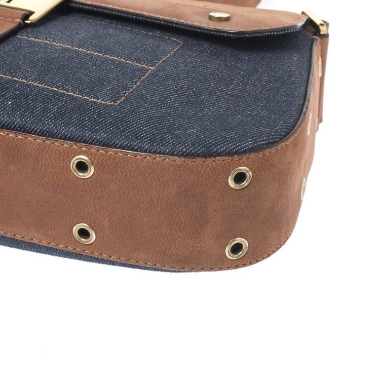 Dior Blue/Brown Denim and Leather Street Chic Shoulder Bag For Sale 7