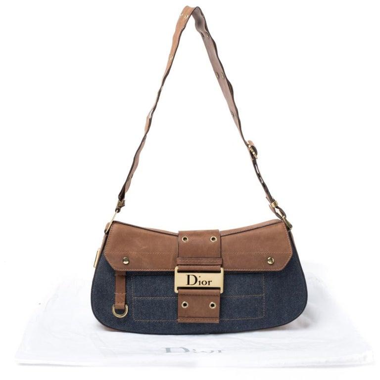 Dior Blue/Brown Denim and Leather Street Chic Shoulder Bag For Sale 8