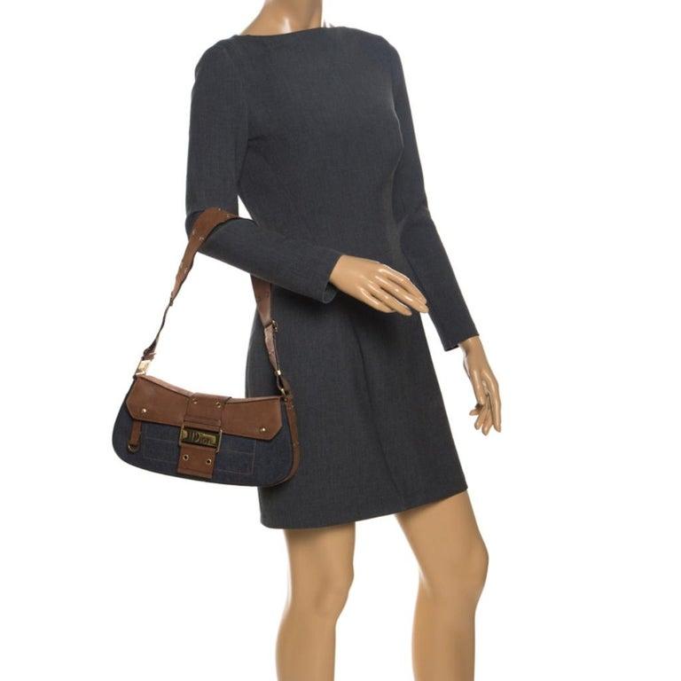 Dior Blue/Brown Denim and Leather Street Chic Shoulder Bag In Fair Condition For Sale In Dubai, Al Qouz 2