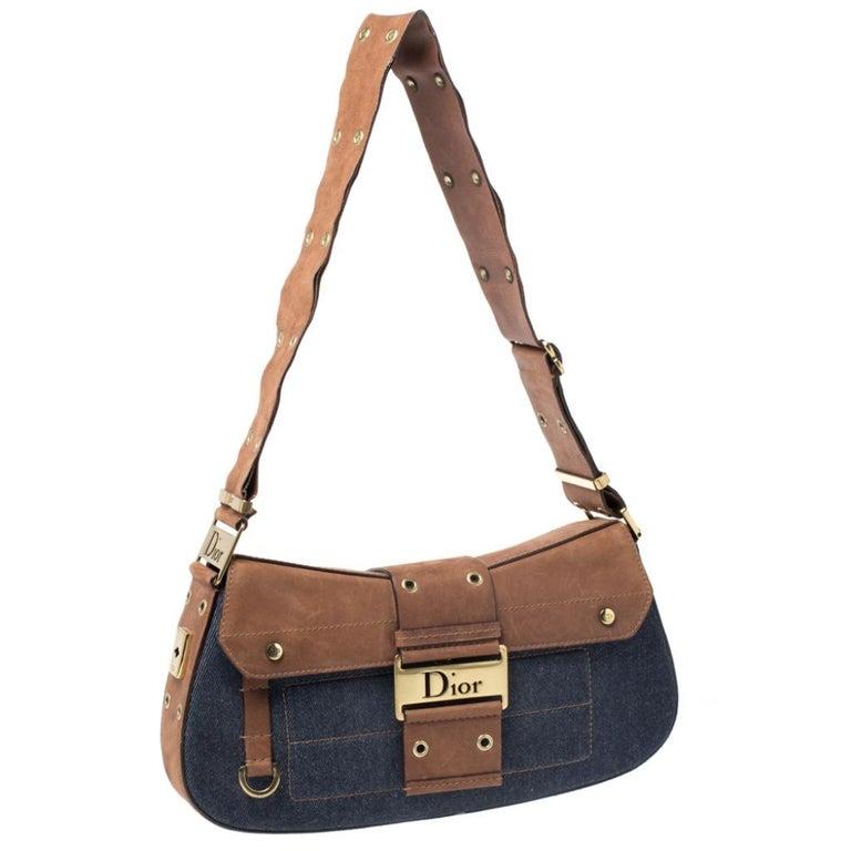 Women's Dior Blue/Brown Denim and Leather Street Chic Shoulder Bag For Sale