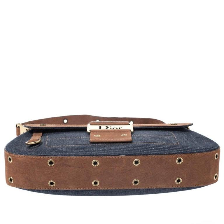 Dior Blue/Brown Denim and Leather Street Chic Shoulder Bag For Sale 1